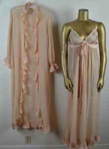 VINTAGE M French Silk, Satin & Lace Peingoir Set Long Gown Open Robe Blush