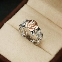 Exquisite Two Tone Silver Floral Ring 14k Rose Gold Flower Wedding Jewelry Gift
