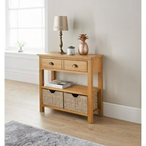 Brand New Stylish Design Wiltshire Oak Console Table with Storage Baskets.