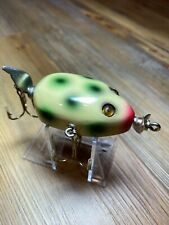 Vintage Fishing Lure Unknown Kent Style Frog Beauty Glass Eye Wood Bait
