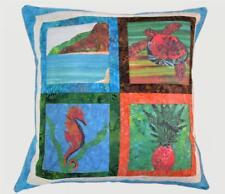BEACH Turtle Seahorse Pillow Cover Pineapple Tropical Sea Blue Fabric Case