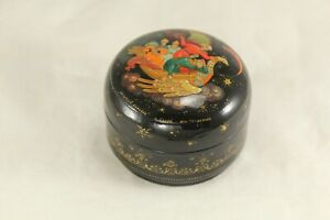 "Kholui Round 1¾"" Russian Lacquer Box FLYING SHIP Artist Signed - w Orig Receipt"