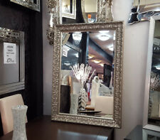 Antique Ornate Bevelled Wall Mirror Gilt Finish French Champagne Silver 90x65cm