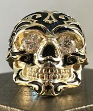 Custom 18k Solid Gold 1 Carat CTW VS1 Colorless Diamonds Sugar Skull Ring! 26.9g