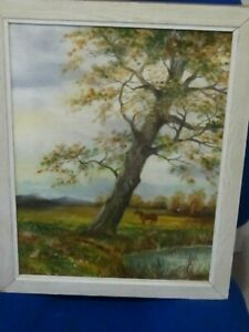 Original Oil of a Rural scene featuring Horse,Rabbit Trees and River by C.W.King