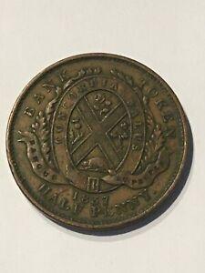 1837 Province du Bas Canada Un Sou, Bank of Montreal Half Penny