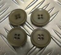 Genuine Vintage Military Issue 4 Hole Plastic Coat Buttons Khaki  X4 22mm