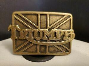 Triumph Motorcycle Norton Biker Rider Collectible 1978 Vintage Brass Belt Buckle