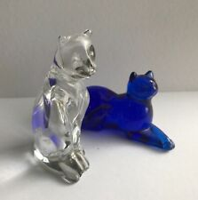 The Franklin Mint 2 Cats - 1- Cobalt Blue & 1- Clear Crystal Cat Figurines
