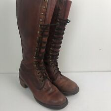Vintage Frye Tall Lace Up Women Sz 8 Cognac Riding Boots Made in USA Leather