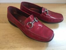 GEOX Ruby Red Patent Leather Loafers Shoes with Silver Horsebit sz 37  7 AU [md