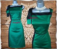 KAREN MILLEN UK 8 Green Black Cotton Satin Cocktail Race Evening Shift Dress 36