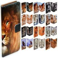 For HTC Series Mobile Phone - Lion Theme Print Flip Case Wallet Phone Cover