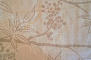 """Over 2 Yards Tan Leaves on Beige Cotton Blend Fabric 86"""" X 48"""""""