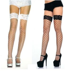 Leg Avenue Thigh Highs Fence Net Lace Top Stockings Reg Black or White 9037