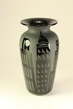 Vtg 1987 Correia Art Glass Black City-Scape Skyscraper Vase Evmuba Signed Ltd Ed