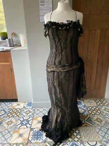 Ladies Alberto Makali Silk Black & Gold Long Ballgown Party Cocktail Dress Small