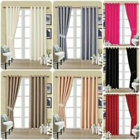 New beautiful colour Fully Lined FAUX SILK CURTAIN Eyelet Ring Top FREE Tiebacks