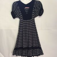 Juicy Couture Womens A-Line Dress Black Striped Puff Sleeves V-Neck Self Tie S
