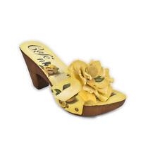 Sandali CafèNoir tacco medio zoccoli legno giallo limoni plateau 35 36 - EF605