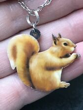 "Squirrel Enamel Double-sided Tibetan Silver 18"" Necklace D-1537"