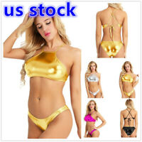 US Women Shiny High Cut Thong Bikini Set Cross Back 2Piece Swimwear Bathing Suit