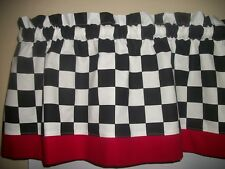 "Black White 2"" Checks Chef Coca Cola kitchen Red  Retro curtain topper Valance"