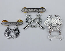 US Army Rifle Expert pin badge insignia & US Army Pistol Expert Pin silver-D930