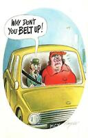 COMIC BAMFORTH LITTLE MAN TELLS HUGE WIFE to BELT UP in CAR POSTCARD NEW