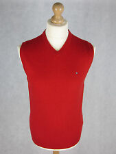 TOMMY HILFIGER Sleeveless Jumper M Red Lambswool V Neck Sweater