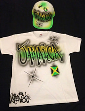 Urbanist graffiti airbrushed Jamaica with flag 2 colour adults cap and T-Shirt