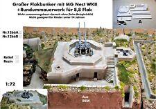Neu Diorama Nr.1266A Gr.Flakbunker mit MG Nest+Rundummauer f.8,8 Flak lWKII 1:72