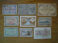 LOTTO 9 banconote 1 FRANC FRANCIA chambre commerce LONS NUMISMATICA SUBALPINA
