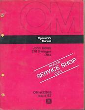 John Deere 370 Swinger Disk DEALER SERVICE SHOP COPY Operators Manual OM-A32066