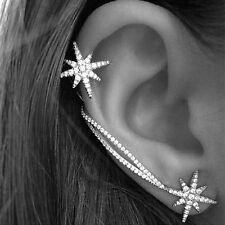 Antique Silver Snowflake Rhinestone Earrings Clip Cuff Wrap Ear Stud Punk Style