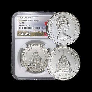 1976 Canada Dollar (Silver) - NGC SP69 - Parliamentary Library 📚(VIP)