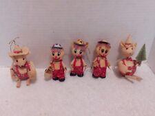 5 Cornhusk Christmas Ornaments, 2 Mice and 3 Boys