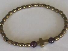 Natural Bronze Hematite and garnet beaded Bracelet