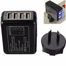 Black 4 USB Port AC Power Travel Home Wall Charger Adapter With AU Plug