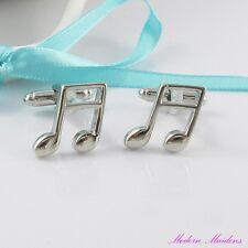 Platinum Brass Music Note Cufflinks 16x19mm