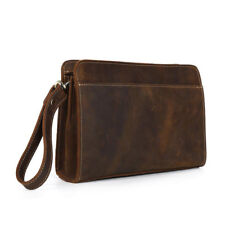 Vintage Men's Leather Business Case Handbag Wristlet Clutch Wallet Purse Zipper