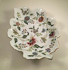 Andrea by Sadek Leaf Shaped Serving Platter Buckingham Pattern with Gold Trim