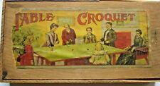 Antique Table Croquet Game  Milton Bradley  1890's  Wooden Box