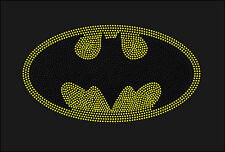 Batman Inspired Fan Art Super Hero Logo Rhinestone Iron On Transfer HotFix Bling