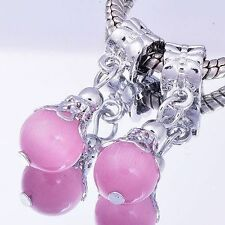 2Pcs White gold filled silver pink Crystal MURANO GLASS BEADS european bracelet