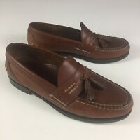 LL Bean Men's Leather Loafers Dress Shoes Slip On Moc Toe Tassle Brown Size 9 D