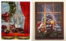 ? Weihnachtliches Wandbild ? Katze & Teddybär ? leuchtende LED ?