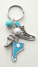 SHOE Canvas Lace Up KEYRING Bag Charm Blue White Painted Enamel Silver KCJ1652