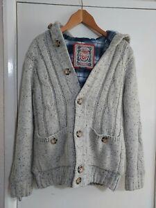 Superdry Premium Vintage Knit Jumper Hoodie Cardigan Grandad Style Size medium