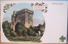Irish Postcard Blarney Castle Keep Stone Inset Shamrock Harp Huno Cork Ireland